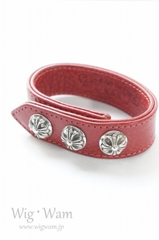 CHROME HEARTS BRACELET 3 BUTTON 2 SNAP CROSS RED