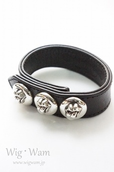 CHROME HEARTS BRACELET 3 BUTTON 2 SNAP LT BLACK