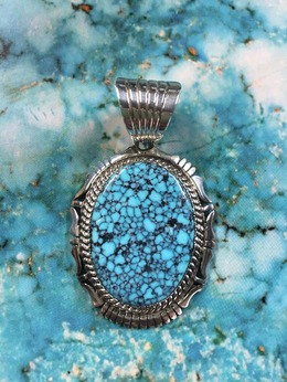 Silver Pendant with Kingman Turquoise