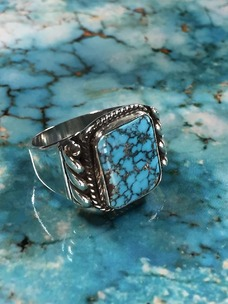 Silver Ring with No.8 Turquoise 22号